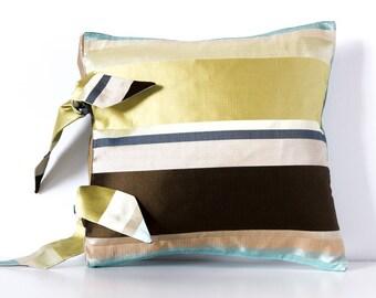 Blue/Yellow/Brown Striped Cushion, Decorative Pillow Cushion, Striped Cushion, Duck Egg Blue Cushion, 12x12 inch Cushion