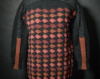 Unique 3D Textured Multipanelled Jumper. Handmade with Multiple Mix of Amazing Yarns.