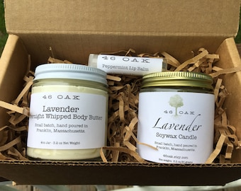 Gift Set - Whipped Body Butter, Lip Balm, Candle Gift Set - Mother's Day Gift, Birthday Gift, Housewarming Gift, Bridesmaid Gift