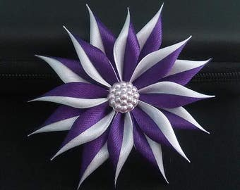 Bar flower purple and white/kanzashi/Fleur kanzashi/Ribbon satin hair clip