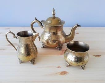 EPNS Silver Plated Tea - Coffee Set -  Engraved Teapot Milk Jug and Sugar Bowl -
