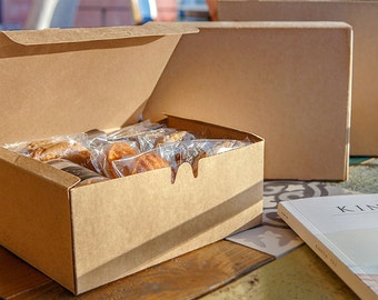 5 medium Kraft rectangle box,cookie box,Kraft gift box,simple gift box,plain gift box,bakery box,favor box,Kraft cookie box,bread box,
