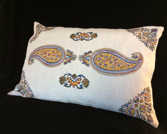 Handmade natural linen pillow, yellow paisley pillow, block printed Irish linen