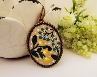 Summer Wildflowers Yellow & Blue Necklace.Lovely Vintage Hand Painted Cameo Pendant Necklace Polymer Clay Jewelry Nickel Free Antique Bronze