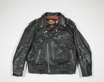 HARLEY DAVIDSON - Black leather biker jacket