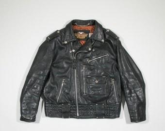 HARLEY DAVIDSON - Black leather biker jacket