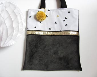 "Tote bag double ""suede look"" grey triangle pattern"