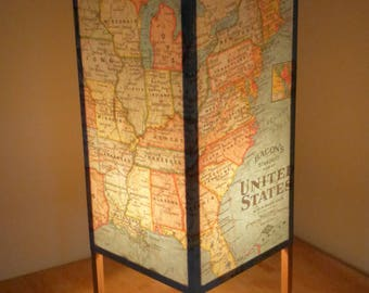 Table lamp, USA Map, Accent Lamp, Paper Lamp, Desk lamp, Office Lamp, Map of United States