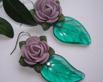 Beautiful gr earrings m ceramics and Muranoblätter