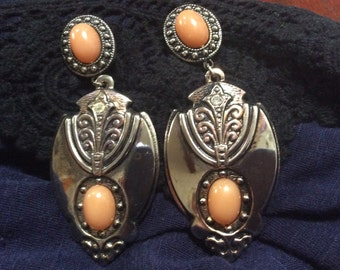 Art Nouveau Style Long Earrings Pierced