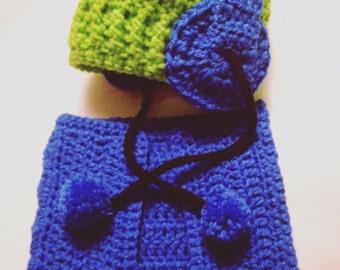 Crochet DJ Set - Earphones Hat with Diaper Set - beanie hat with textured brim, photo shoot prop, newborn