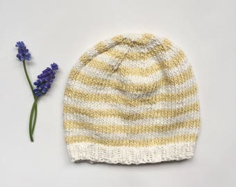 Knitted Baby Hat, Cotton Baby Beanie, Striped Baby Hat, Baby Hat with Stripes, Baby Boy Hat, Baby Girl Hat, Sizes Baby to Toddler