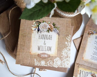 Rustic Floral & Lace Wedding Invitation Sample