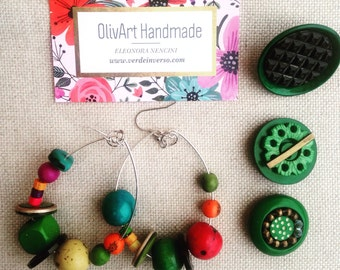 Tagua earrings Olivart//accessories//jewellery//gift ideas//handmade earrings buttons//Italian Craftsmanship