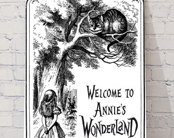 Personalised Alice in wonderland sign, bedroom/party wall hanging