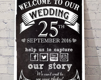 Welcome to our wedding, personalised wedding decor greeting sign scandi black and white, chalkboard style