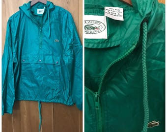 1980s/90s Lacoste Izod Green Windbreaker Jacket Vintage Large Alligator