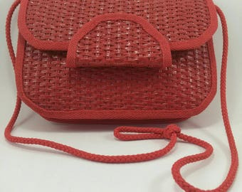 Vintage red straw shoulder bag 80s