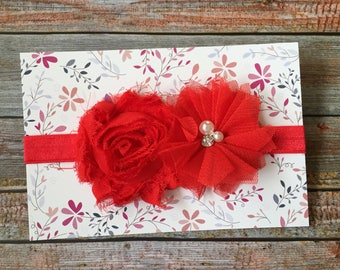 Red Headband/Red Baby Headband/Valentine's Day Headband/Baby Headband/Baby Girl Headband/Newborn Headband/Infant Headband/Christmas Headband