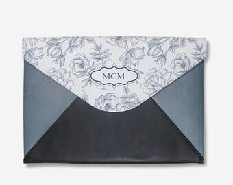 MONOGRAM leather laptop sleeve,macbook air 12 sleeve,macbook pro 13 sleeve,monogram laptop cover,macbok pro sleeve,leather laptop sleeve
