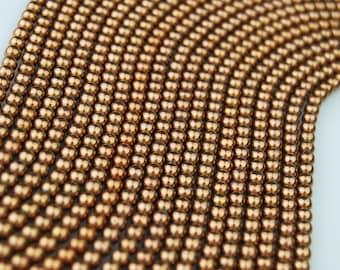 Copper Plated Hematite Round Loose Beads. Size: 4m / 3m / 2m 15.5 '' Long Per Strand. R-S-HEM-0111