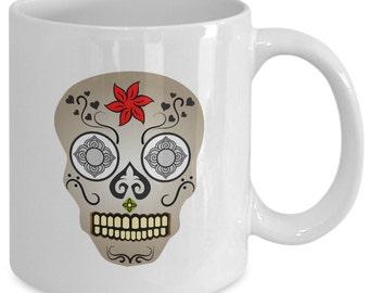 SUGAR SKULL Coffee Mug - Day of the Dead - El Dia De Los Muertos - Mexican Art Gift - 11 oz white coffee tea cup