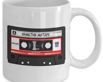 HAMILTON MIXTAPE Mug - BROADWAY Musical Fan Gift - Retro Novelty Mug - Musical Theatre Gifts - 11 oz white coffee tea cup