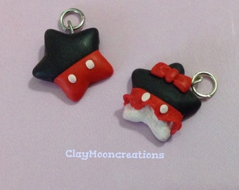 Minnie and Michey charm star fimo