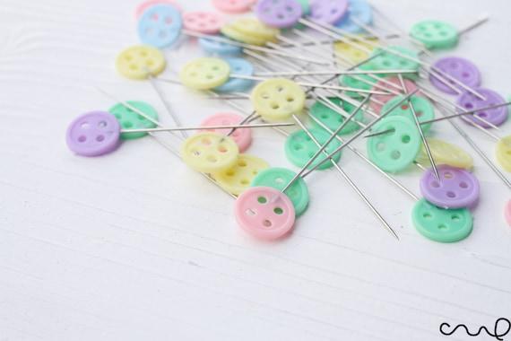 40 X 45mm Button Sewing Pins Pastel Flat Head Dressmaking