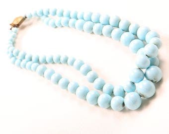 1930s Pale Blue Glass Double Strand Necklace
