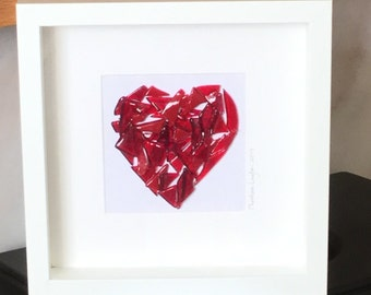 Glass Heart Picture, Glass Wall Hanging, Glass Art, Home decor, Wall Art, Gift for her, Gift for them, Wedding Gift,  Valentines     17/12