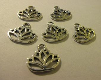 Silver Tone Metal Lotus Blossom Charms, 15mm, Set of 6