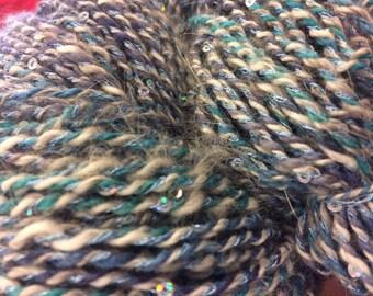 Handspun Angora Sequined Yarn - Bayside