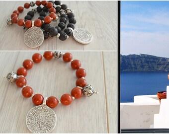 RED JASPER beaded Greek Phaistos disc pendant bracelet, bohemian tribal ethnic gypsy beaded bracelet, Phaistos disc bracelet, greek jewelry