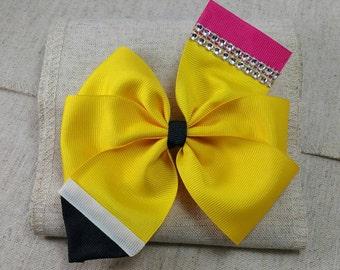 Pencil hair bow...pinwheel hair bow...school hair bow...Back to school hair bow