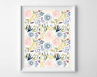 Colorful wall art Printable art Flower art print Watercolor floral print Flower collage Flower nursery decor Floral Poster