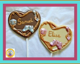 Personalised Baby Gift/Chocolate Lollipop/New Baby/Baby Boy/Baby Girl/Newborn/New Parents/Edible Baby Gift/Baby Shower Favour/Named Baby