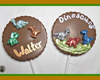 Dinosaur Chocolate Lollipops/Boys Dinosaur Gift/Edible Dinosaurs/Personalised Chocolate/Boys Birthday/Dinosaur Party/Son/Grandson/Favours