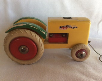 Vintage Toy early Brio wood Swedish wood tractor