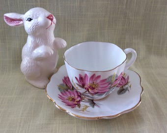 Vintage Taylor and Kent scallopped edge cup and saucer bone china peonies floral pattern
