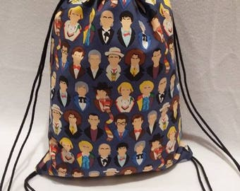 Doctor Who Many Faces of The Doctor Drawstring Backpack
