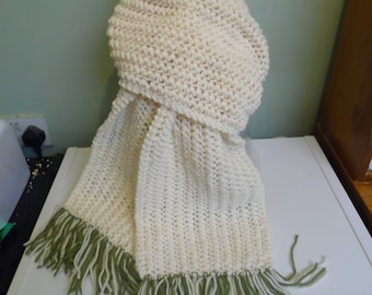 Knitted Cream Scarf, Hand Knitted