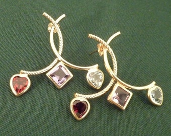 14K Yellow Gold Earrings with Garnets, Amethyst and Blue Topaz 2.9 grams t/w