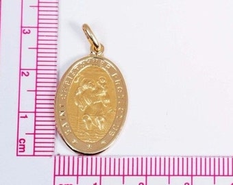 "18K Yellow Gold ""Saint Christopher"" Oval Pendant"