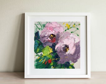 Pale Rose Hydrangea Painting, Flower Painting on Canvas, Hydrangea Decor, Small Art, Feminine Bedroom Wall Art, Kitchen and Dining Decor