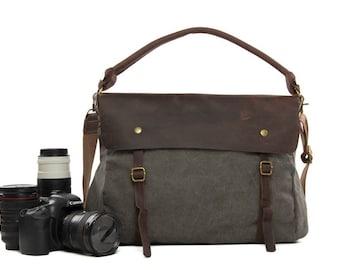 SALE Handmade Vintage Waxed Canvas Leather Trimmed  DSLR Camera Bag SLR Camera Bag Leather Camera  Bag Large Briefcase Messenger Bag