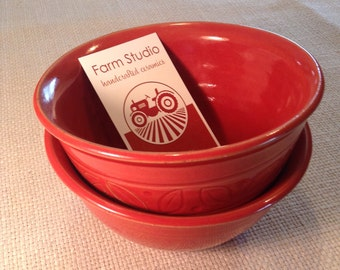 Ceramic pottery bowls red with leaves handmade