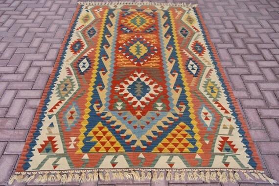Turkish Hand Woven Kilim Rug Antique Vintage Un used Kilim Rug Tribal Handmade Kelim Rug Multi Color Medium size Kilim Teppich 93'' x 56''