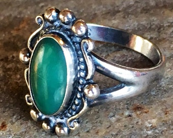 Fred Harvey Era Sterling Silver Green Turquoise Ring size 7.5 Vintage Southwest