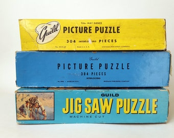 Set of 3 1950s Guild Jigsaw Puzzles - Mid Century Picture Puzzles - Whitman Publishing Company Made in the USA